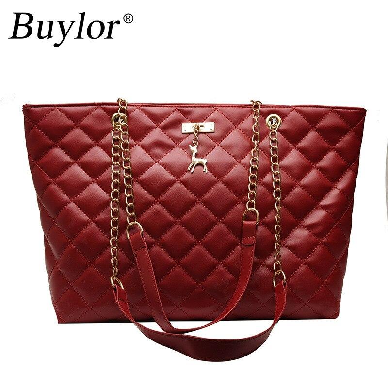 Buylor Luxury Handbags Women Bags Designer PU Leather Large Capacity Handbag Brand Chain Shoulder Messenge Office Lady Bag