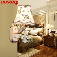 aosong wall lamps contemporary led sconces lights luxury indoor crystal fixture for home bedroom