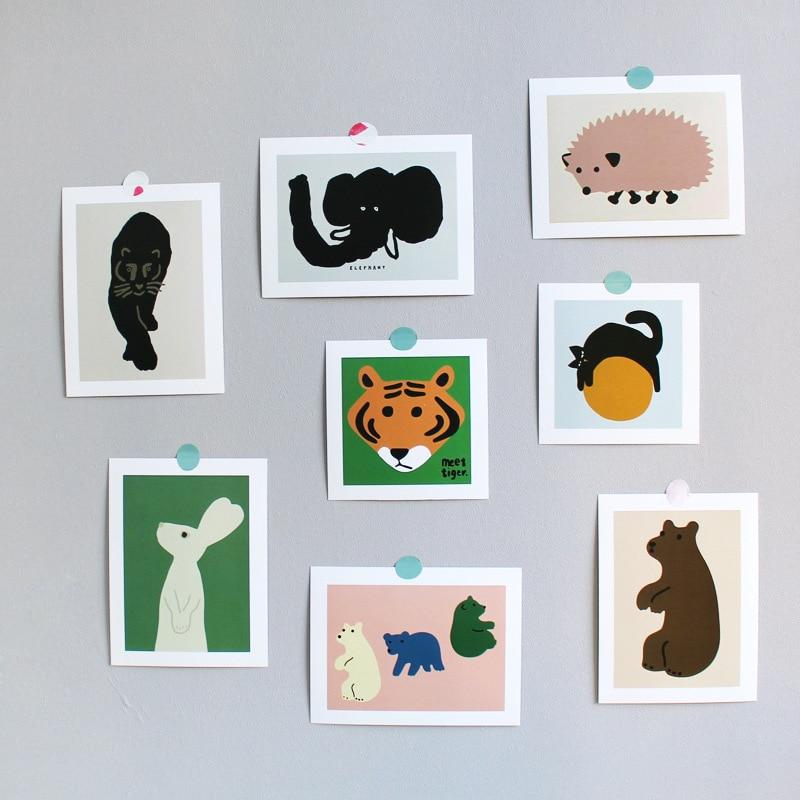 Абстрактное искусство, маленькие животные, открытка, открытка, комната, украшение на стену, наклейка, реквизит для фото, водонепроницаемые о...