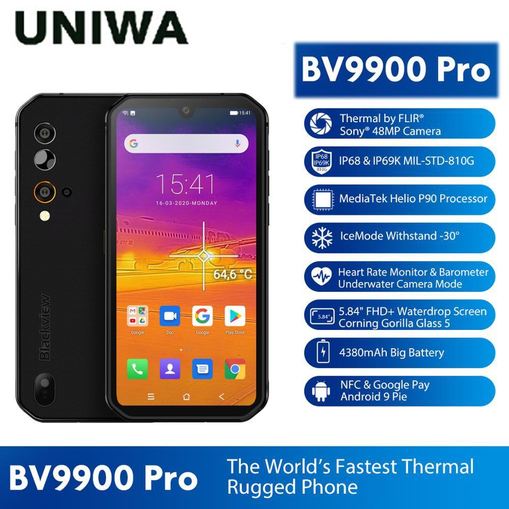 8GB 128GB Mobile Phone  Thermal Camera Smartphone Blackview BV9900 Pro IP68 Waterproof Helio P90 Octa Core Rugged Quad Camera
