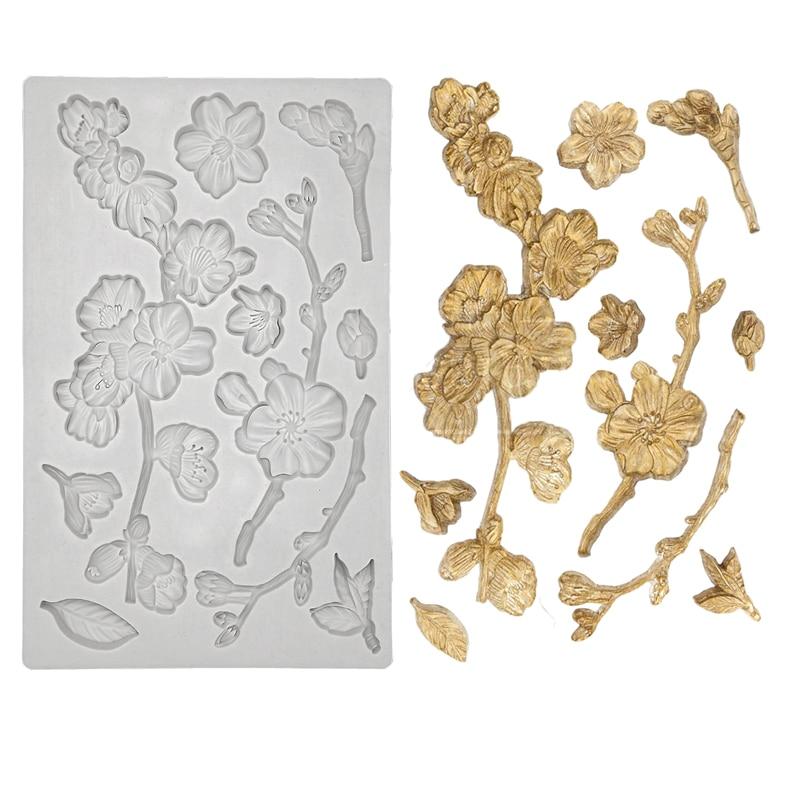 Molde de silicona de flores de cerezo para decoración de tarta Fondant, Cupcakes, Sugarcraft, galletas, dulces, tarjetas y herramientas para hornear arcilla