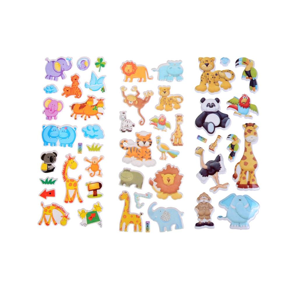 Dibujos Animados animales zoológico 3d pegatinas niños niñas niños Pvc pegatinas niños juguetes 7,2*17 cm