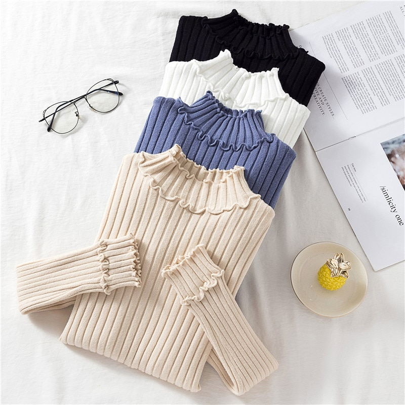 2020 Autumn Winter New Women Turtleneck Sweater Knitted Pullovers Slim Sweater Casual Pullovers Female Ruffles Crocheted Top
