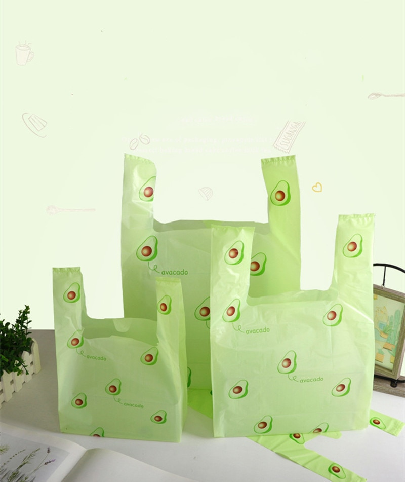 20PCS/Pack Avocado Green Gift Plastic Tote Bag Holiday Party Wedding Supplies Packaging Candy Baking
