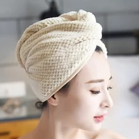 micro fiber hair towel hair drying towels quick magic dry hat cap twist head towel with button thj99