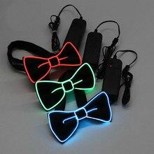 Las mujeres de los hombres LED cable corbata pajarita neón luminoso luz intermitente corbata de lazo Para decoración Fiesta Club Gravatas Para Homens