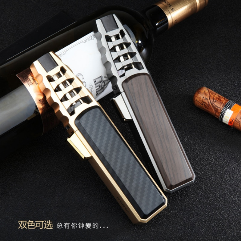 Jet Big Flame Cigar Lighter Torch Turbo Cigar Refillable Gas Lighter Windproof Powerful Metal BBQ Sp