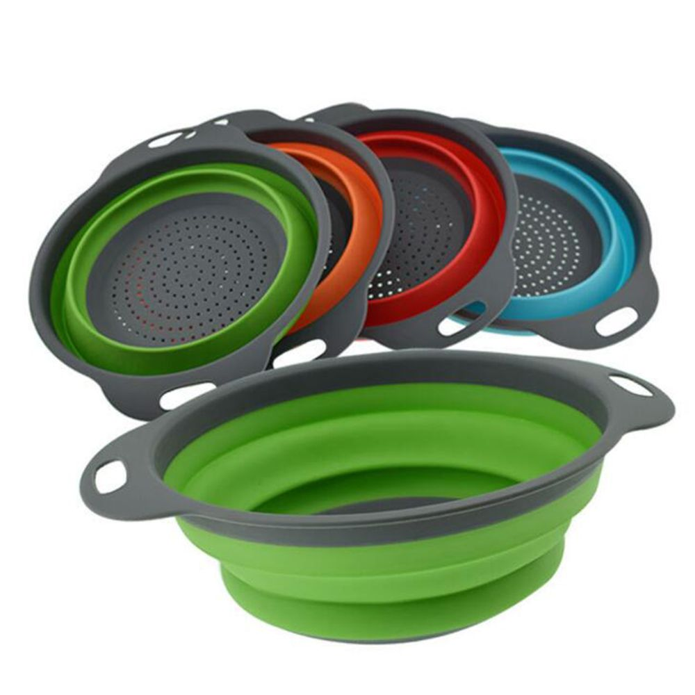 1PC Big Silicone Folding Colander Bowl fruit basket Strainer Outdoor Camping Tableware Draining Portable Cookware