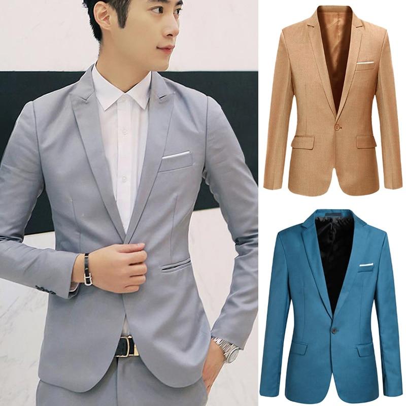 Hot Spring Autumn Men Blazer Long Sleeve Solid Color Slim Casual Thin Suit Jacket Plus Size CGU 88
