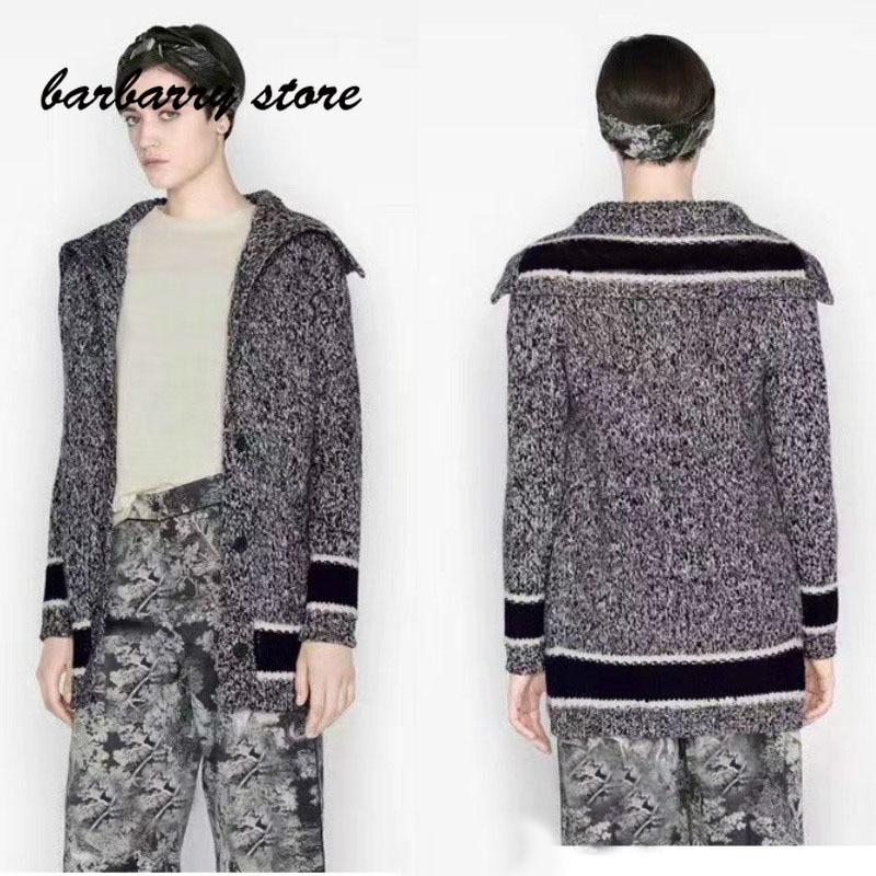 luxury design letter printing fashion women's long sleeved cardigan temperament versatile Navy collar knitted coat windbreaker