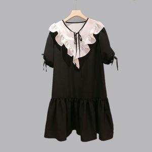 Fashion Women High Luxury Summer Vintage Sweet Cute Loose Doll Collar Puff Sleeve Ruffled Dress