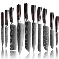 chef knife kitchen knives laser damascus pattern sharp japanese santoku knife cleaver slicing utility knife sharpener