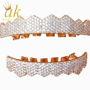 Grillz Iced Out CZ Fang Mouth grills Caps Top & Bottom tooth Set Men Women artificial Hip Hop Set Jewelry