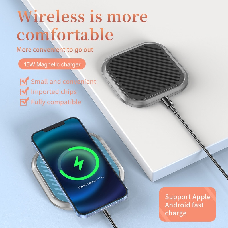 15W Magnetic Wireless Charging For iPhone 12 Pro Max Mini SE QI Fast Charge For Samsung USB C PD Ada