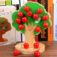Juguetes de madera magnética para niños, manzana, manzana, pasta de frutas, jardín de infantes, Matemáticas número, música