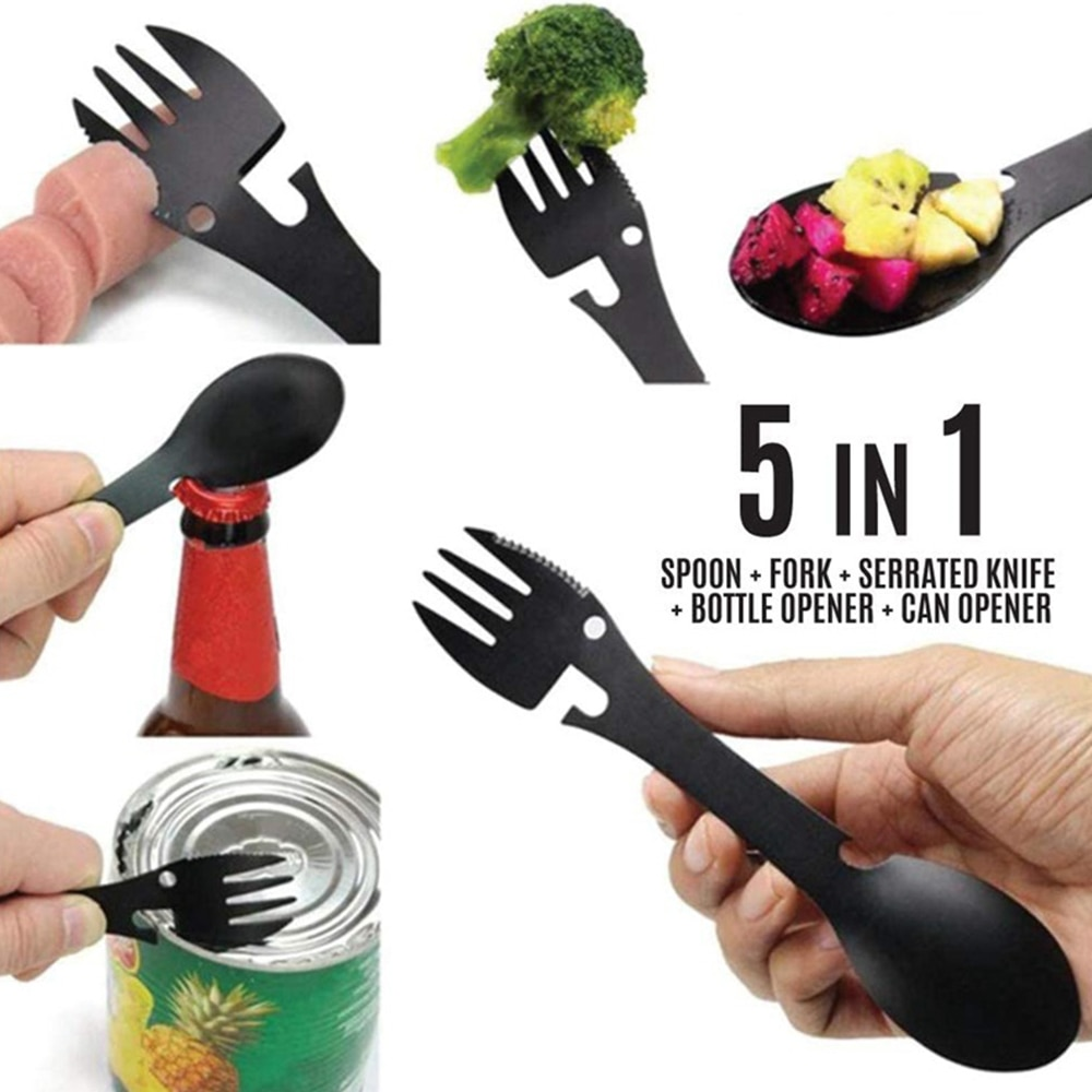 AliExpress - 5 in 1 Outdoor Camping Tool Picnic Fork Spoon Lightweight Stainless Steel Portable Spoon Fork Home Corkscrew Bottle,Can Opener