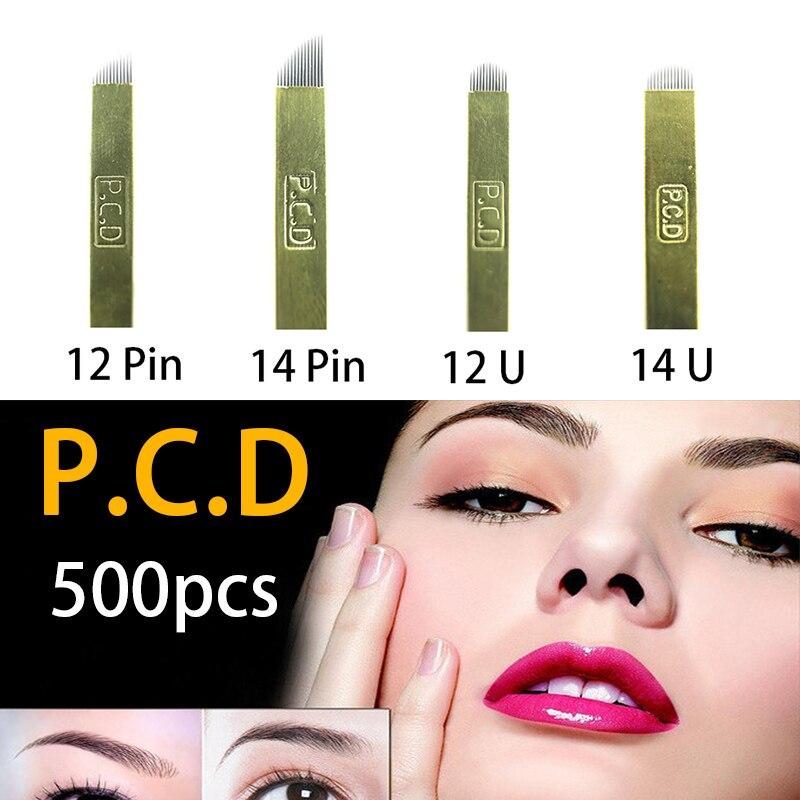 500 قطعة PCD 12 دبابيس الصفيحة نانو شفرة قسط 12 الصلب 0.25 مللي متر الدائم ماكياج Microblading إبرة ل Tobori القلم
