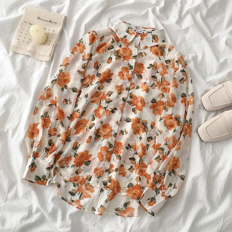 women summer kawaii design long sleeve turndown collar floral print blouse 2020 mori girls harajuku style printed blouse