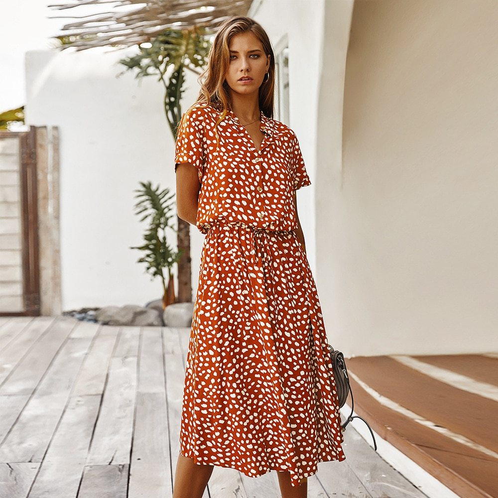 Vestido midi longo estampa de bolinhas, vestido de verão feminino, de cintura alta, vintage, elegante, peça única vestidos, vestidos