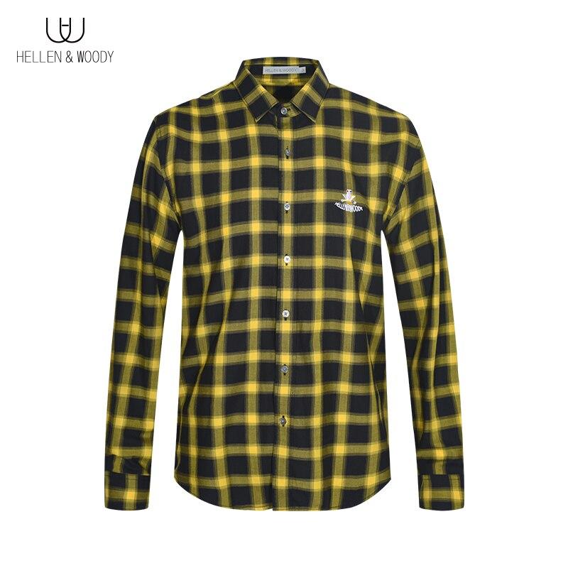 Мужская весенне-осенняя Свободная рубашка HW в шотландскую клетку, Повседневная рубашка в шотландскую клетку с длинным рукавом, свободная М...