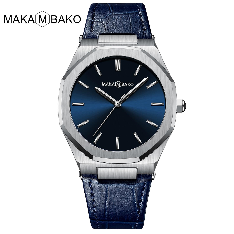 2021 New Luxury Genuine Leather Band Business Men's Quartz Watches Waterproof Creative All Black Dia