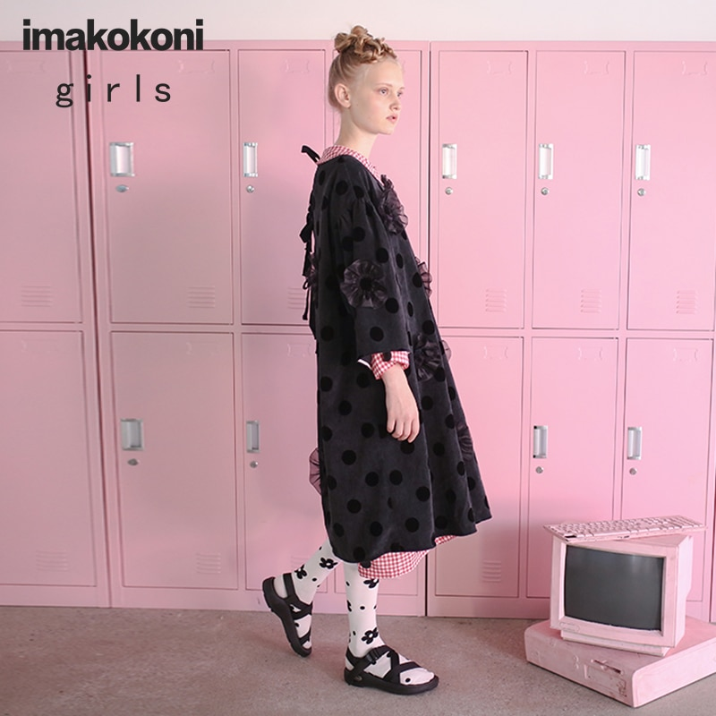 imakokoni fine corduroy wave point mid-length autumn dress original female loose round neck autumn and winter new 172220