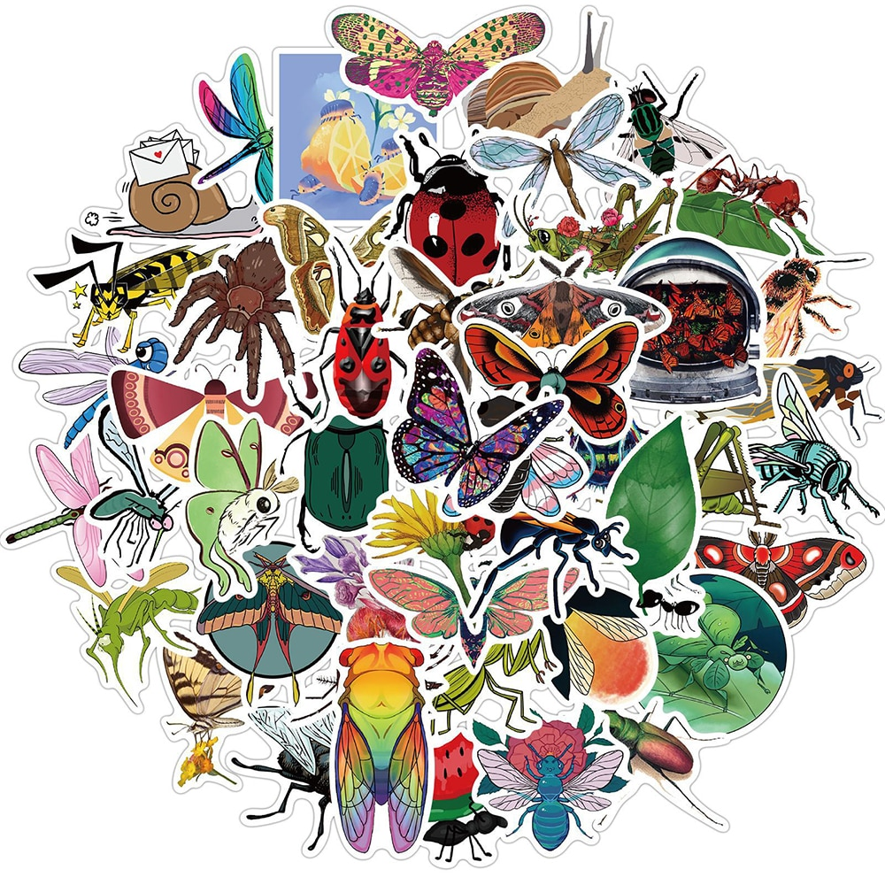 10/30/50pcs Nature Insect Stickers Funny Animal Butterfly Spider DIY Waterproof Decals Kids Toy Phon