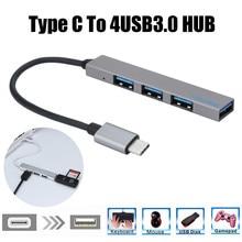 Extension de Hub Usb type-c To 4, Mini-mince Portable, Interface dalimentation Usb 3.0, 4 ports, pour Mac-Book, tablette