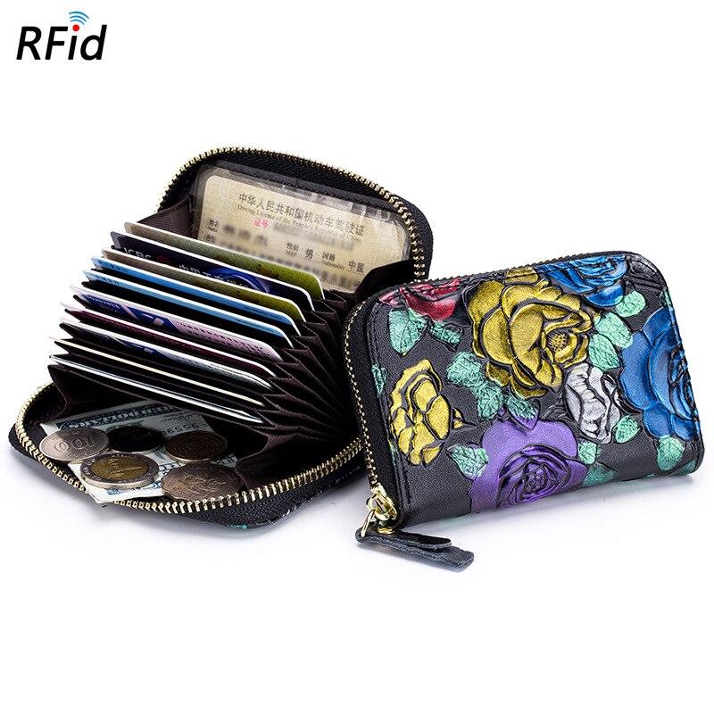 Caja del sostenedor de la tarjeta de crédito del órgano RFID de la manera para las mujeres Multi-Tarjeta Split cuero cremallera carteras monedas pequeñas bolsa de dinero