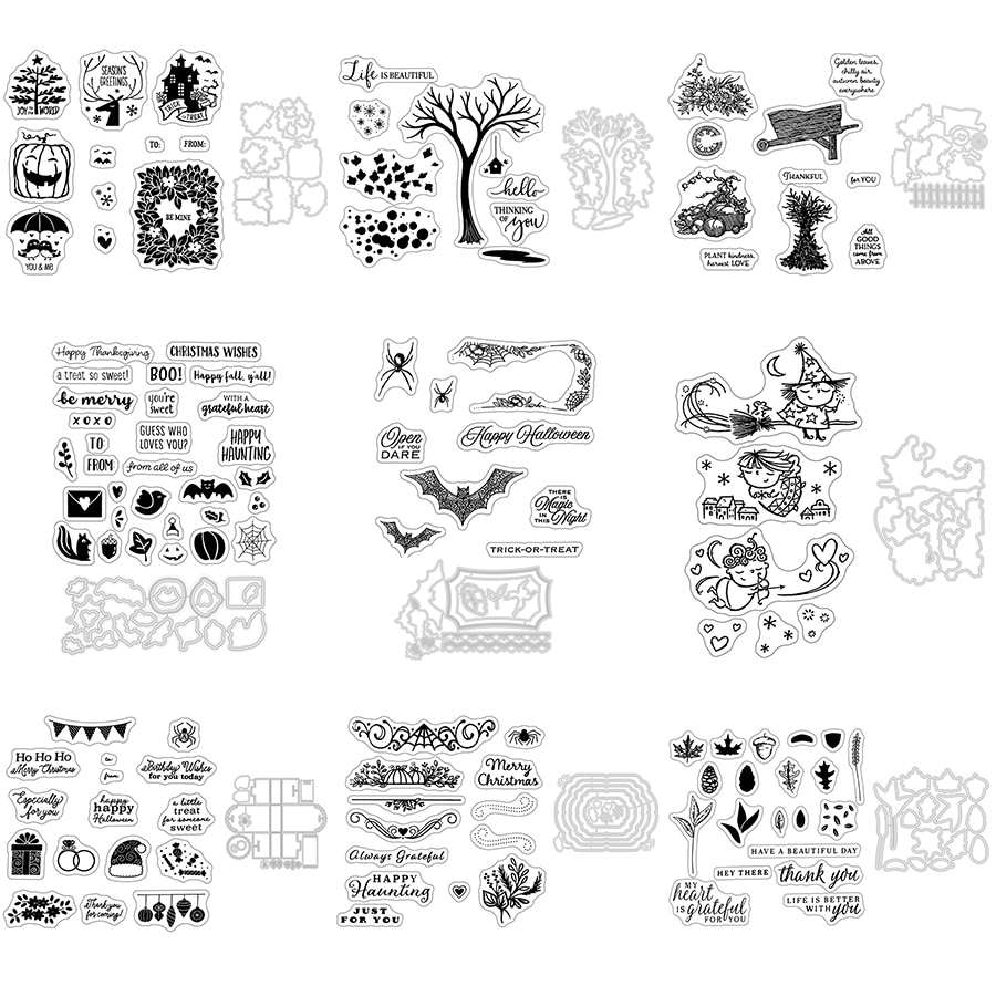 2021 New Halloween Pumpkin Clear Stamp and Metal Cutting Dies Set For DIY Craft Making Paper Festival Greeting Card Scrapbooking