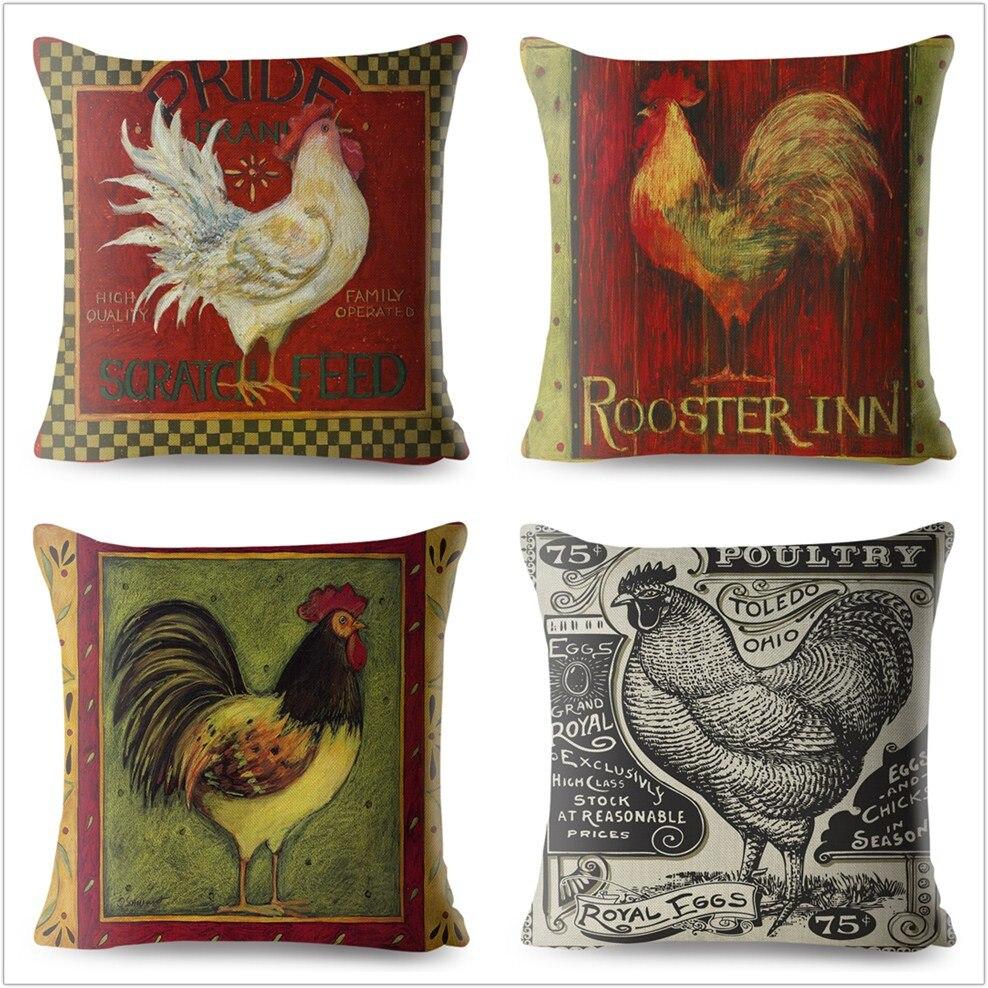 Funda de almohada 45*45 Gallo gallina Gallo diseño Vintage imprimir almohada de...