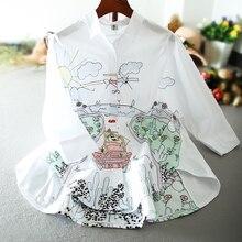Neue frühjahr und sommer frauen lose weißes hemd bestickt lange bluse cartoon graffiti mode