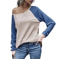 simple pullover women blouse loose streetwear long sleeve round neck splicing women t shirt for daily wear