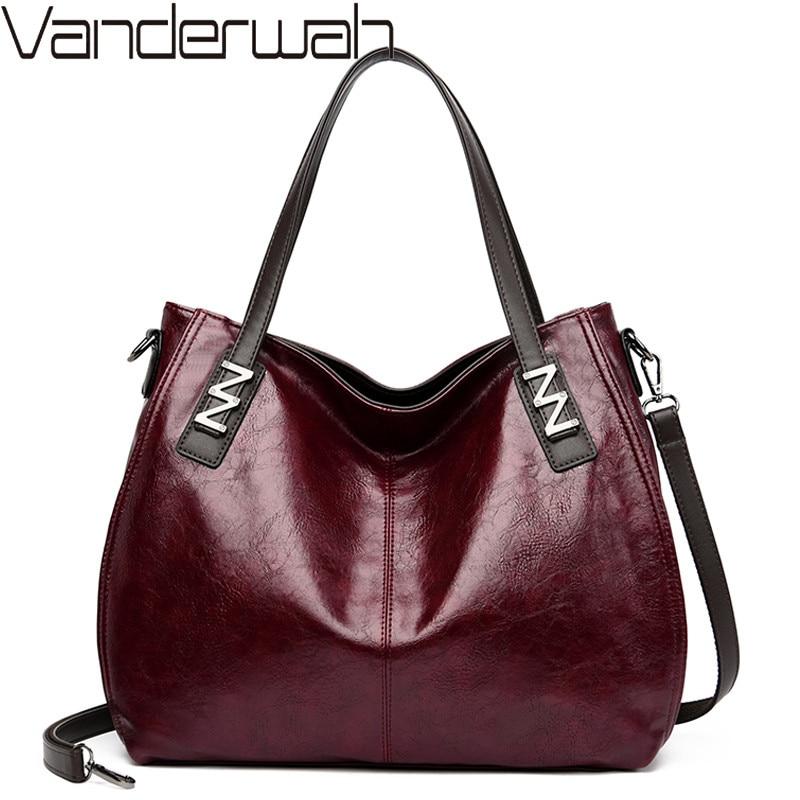 Bolsa de ombro do vintage moda feminina bolsas de grande capacidade tote sacos casuais sacos crossbody de couro macio para as mulheres saco do mensageiro