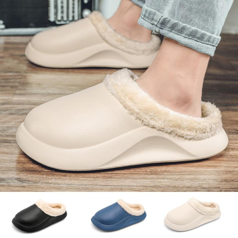 Сандалии женские плюш, эва тапочки домашние зимние Нескользящие мужские домашние туфли унисекс домашние искусственные теплые тапочки
