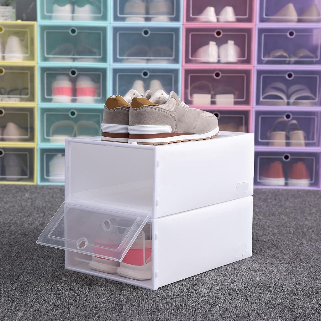 1 шт. домашняя коробка для обуви Складная прозрачная коробка для хранения обуви пластиковая Штабелируемая коробка для обуви Штабелиру…