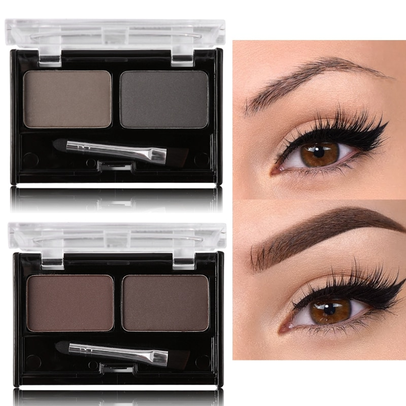 Paleta de maquillaje en polvo de cejas de doble Color, potenciadores de cejas marrones naturales, Kit de belleza con pincel para sombras de ojos 3D