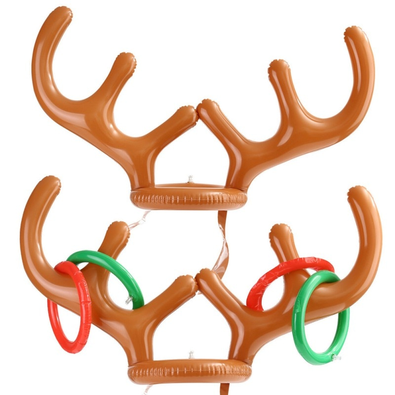Inflatable Santa Funny Reindeer Antler Ring With Hat Design Christmas Holiday Party Game Supplies To