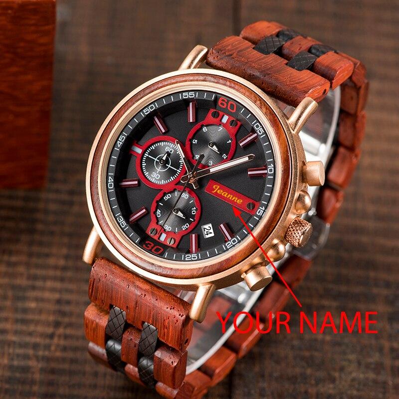 BOBO BIRD Luxury Brand Watch Men Gold Chronograph Wristwatch Engrave Name DIY Gift to Him Christmas Gifts Custom reloj hombre