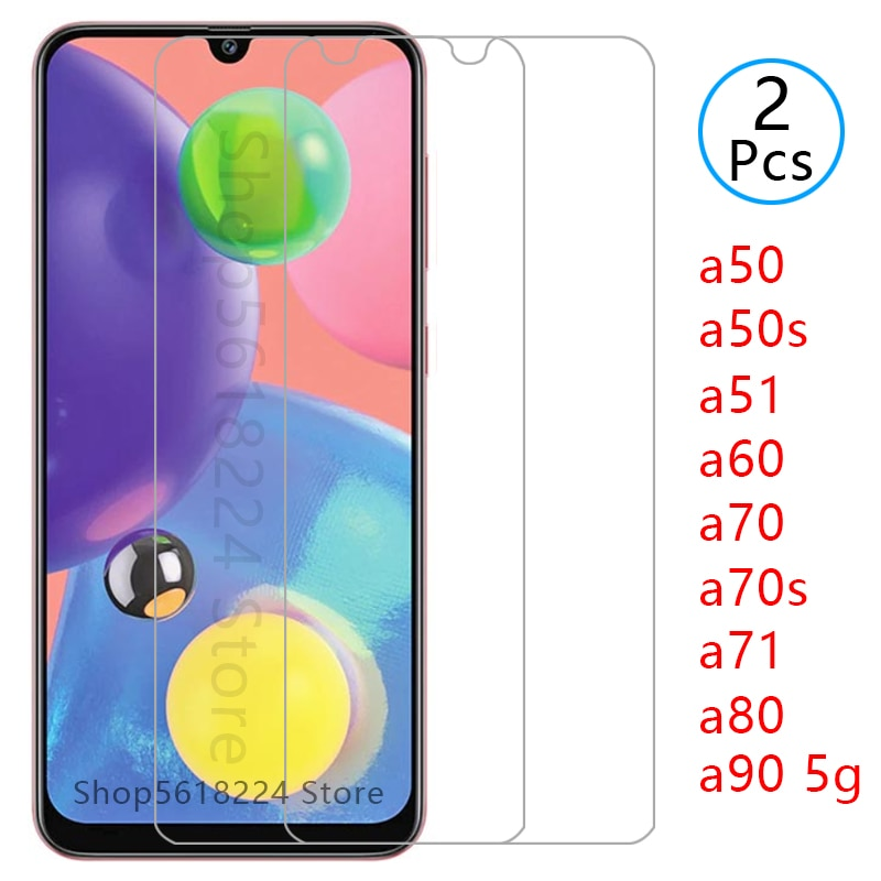 Vidrio templado para samsung a50 a50s a60 a70 a70s a80 a90 5g a51 a71, protector de pantalla de cristal protector galaxy a 50 70 s 51 71 80