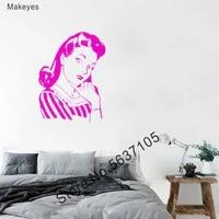 Makeyes     autocollants muraux retro pour femmes  Style 1950  Stickers de beaute pour Salon de maison  decoration a la mode  Art Q175