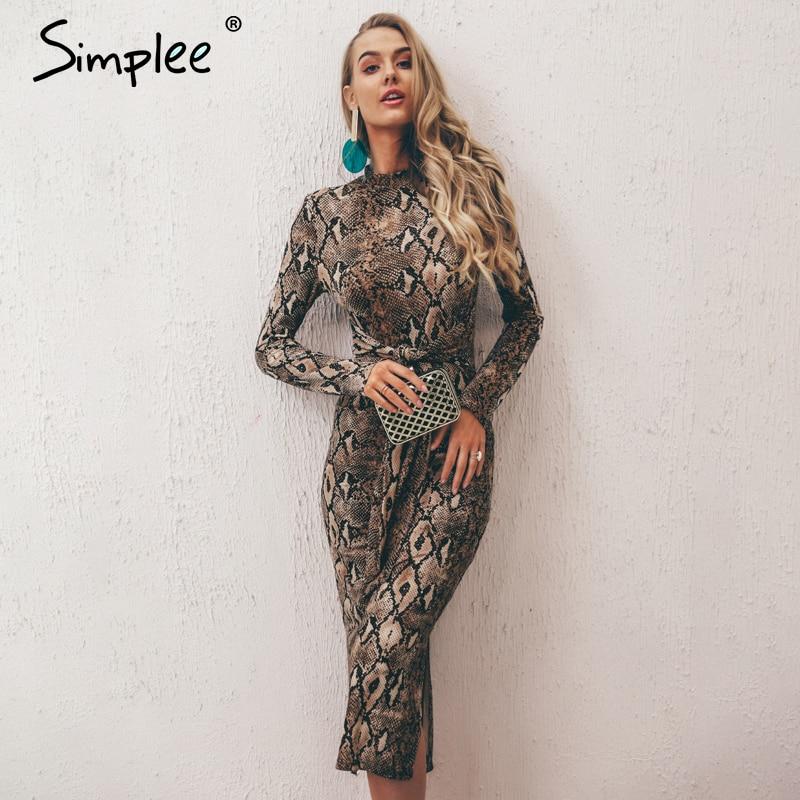 Simplee Sexy leopard print women long dresss  Autumn long sleeve sashes bodycon stretch dresses Elegant party female vesitidos