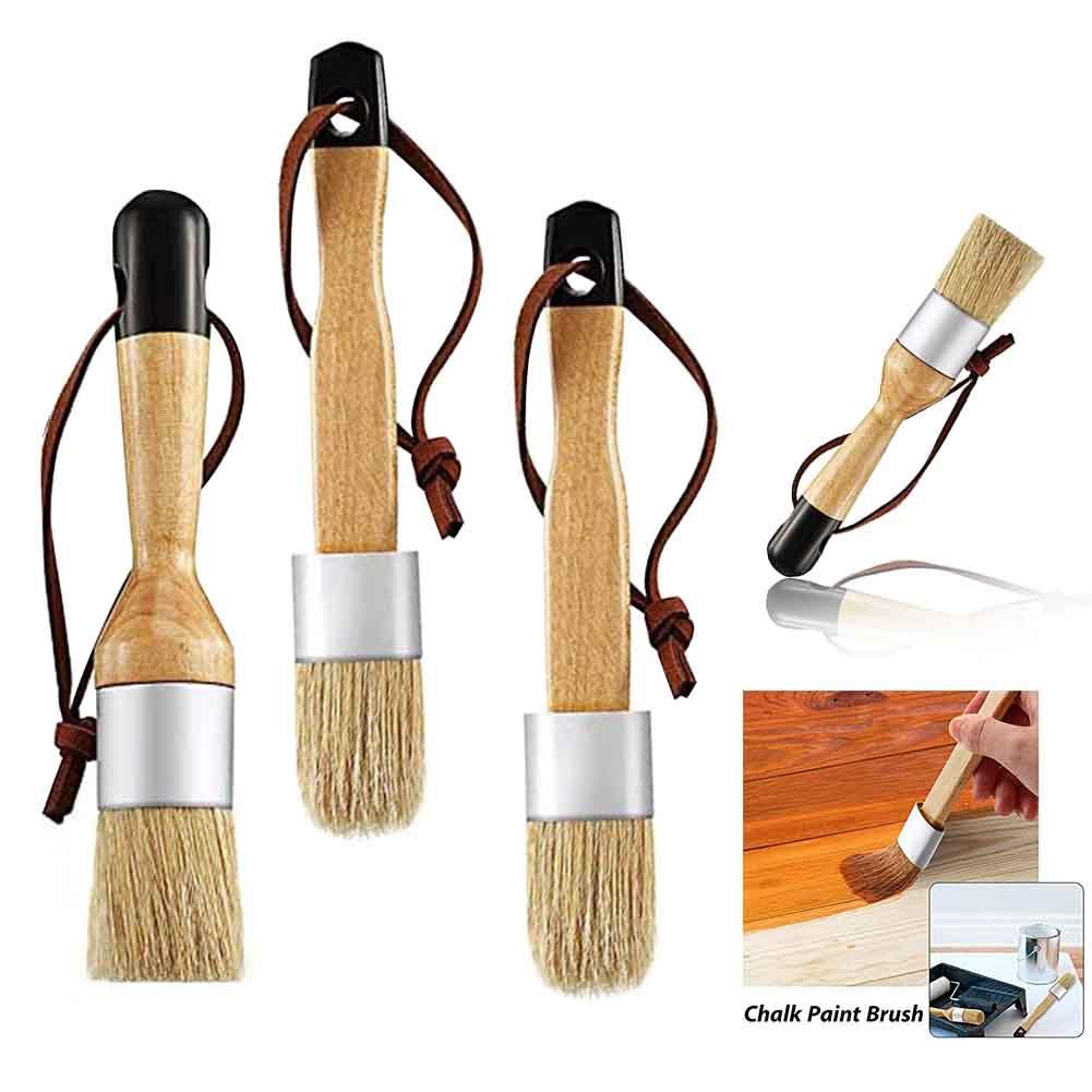 4 Uds. Pincel de cera plano redondo con detalle de tiza y cerdas para muebles