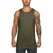 Summer top casual men's gym fitness sleeveless mesh sports top tank tops