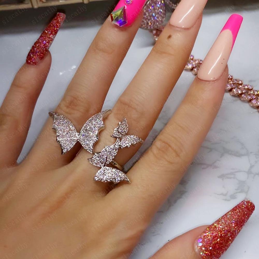 SISCATHY Romântico Trendy Bat asa de Borboleta Brincos de Pingente de Luxo Folha Brincos Para As Mulheres Brincos de Noiva Do Casamento 2019