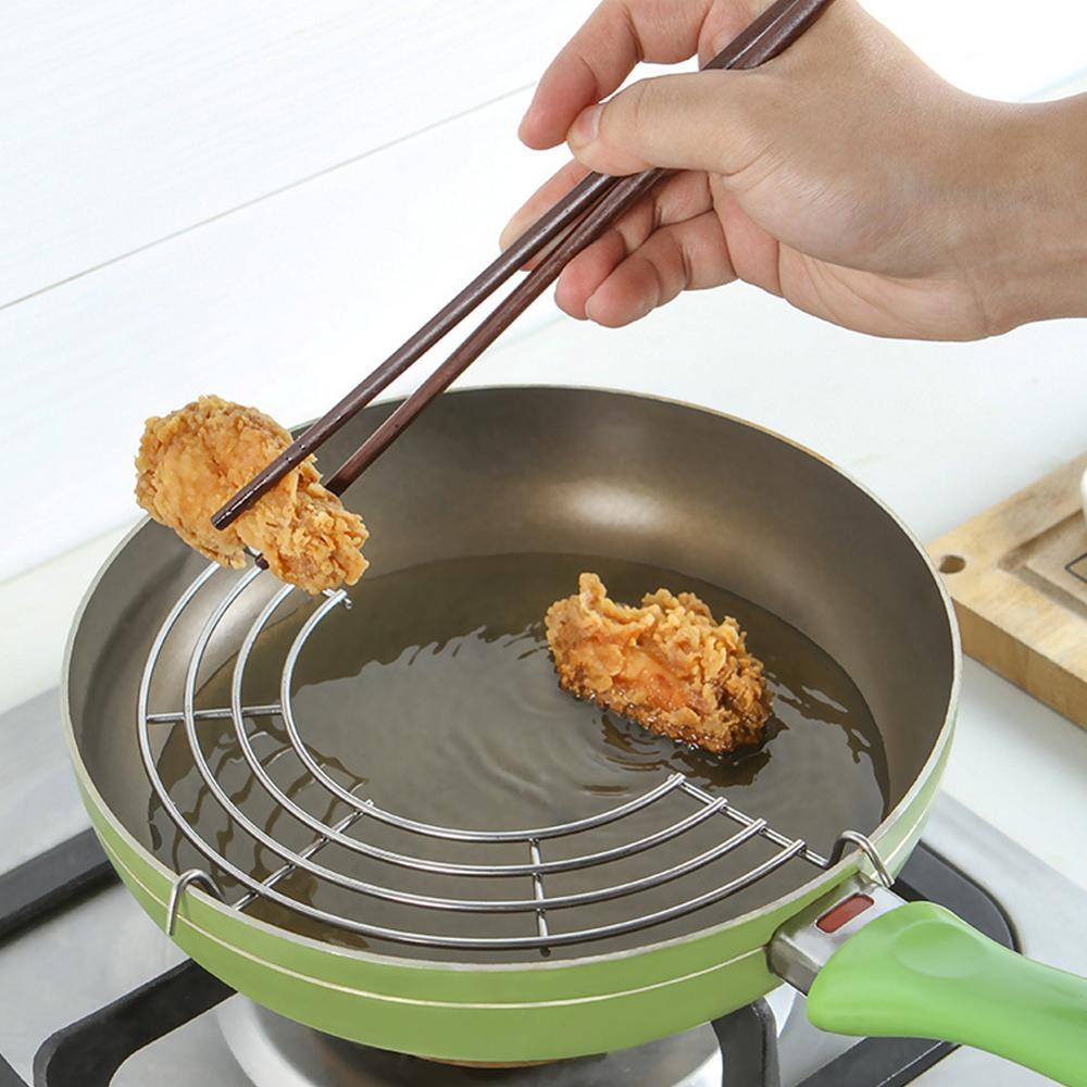 Suporte de óleo para fritura semi-círculo, de aço inoxidável, escorredor de vapor e filtro de óleo, ferramenta de cozinha