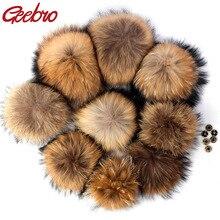 Geebro DIY Pompon 11-16cm 18cm 20cm Raccoon Fur Pom Poms Fur Balls for Knitted Hat cap Beanies and S