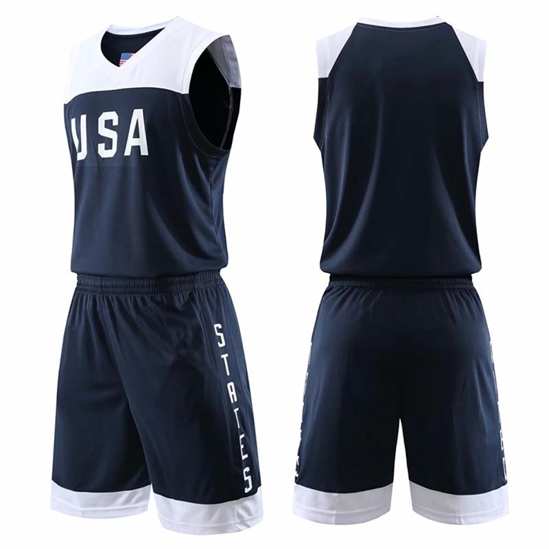 Мужские футболки для баскетбола колледжа, Униформа, спортивный комплект одежды, Молодежные американские баскетбольные комплекты из Джерси...