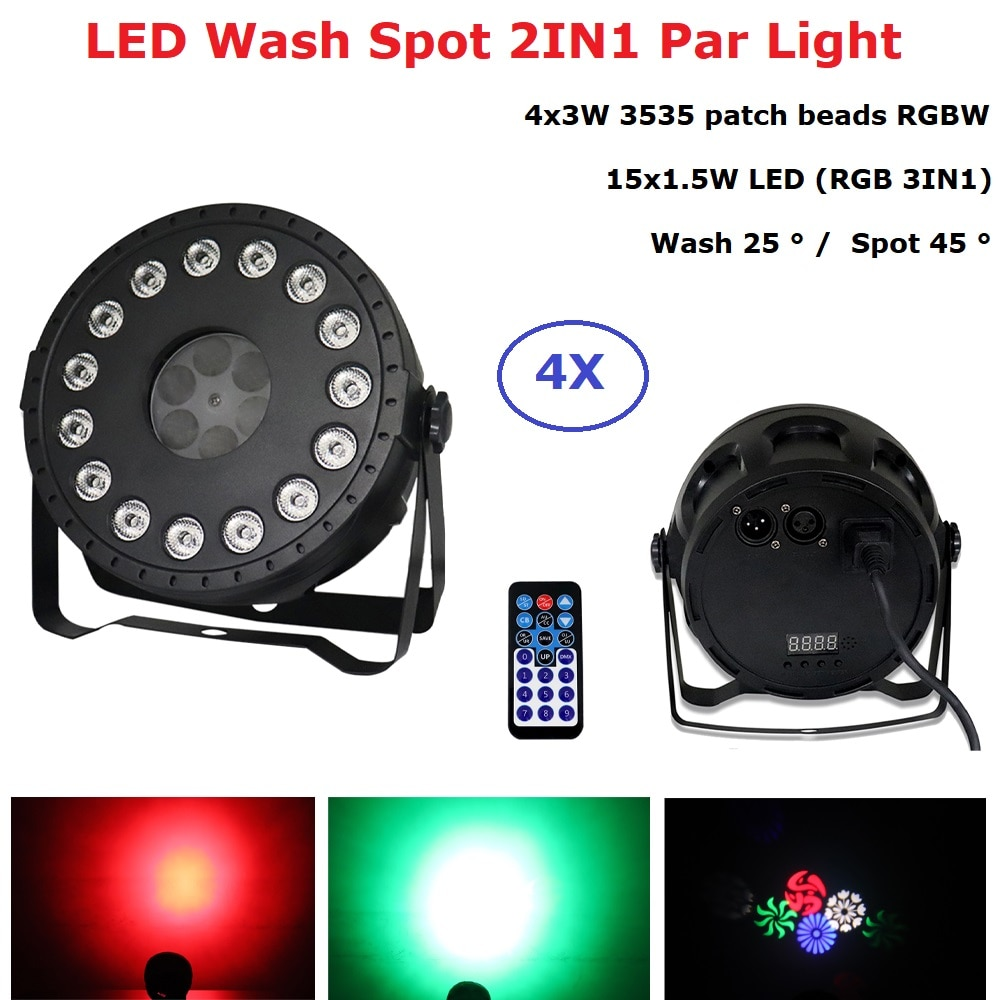 Focos LED de lavado 2 en 1, luces Par de 15X1.5W + 4X3W RGBW por luz LED para Dj, adornos navideños para el hogar, fiestas, discotecas musicales