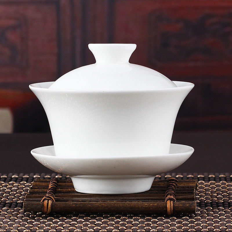 Chinese Gaiwan Tea Set Kung Fu White Ceramic Gaiwan White Teaware Sancai Tea Cup